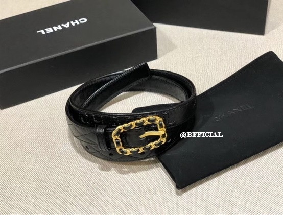 chanel leather chain belt